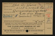 Entry card for Travis, Paul Bough for the 1920 May Show.