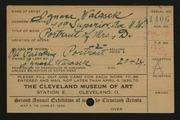 Entry card for Walasek, Ignace for the 1920 May Show.