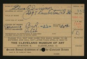 Entry card for Holmes, Edna Zimmer for the 1920 May Show.