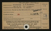Entry card for Artcraft Printing Company, and Van Bergen, E. R.; Albrecht, C. A.; Hachet, P. A.  for the 1921 May Show.