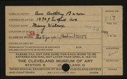Entry card for Bacon, Ann Anthony for the 1921 May Show.
