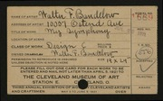 Entry card for Bandelow, Walter F. for the 1921 May Show.