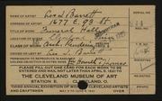 Entry card for Barrett, Leo L., and Howell & Thomas for the 1921 May Show.