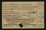 Entry card for Beneker, Gerrit A. for the 1921 May Show.