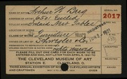 Entry card for Berg, Arthur W., and Schwegler & Company for the 1921 May Show.