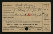Entry card for Boyer, Merle for the 1921 May Show.