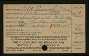 Entry card for Broemel, Carl William for the 1921 May Show.