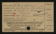 Entry card for Copeland, L. Harl for the 1921 May Show.
