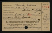 Entry card for Corcoran, Hannah for the 1921 May Show.