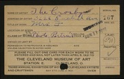 Entry card for Crosbys, The for the 1921 May Show.