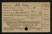 Entry card for Csosz, John for the 1921 May Show.