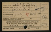 Entry card for De Gollier, Adele I. for the 1921 May Show.