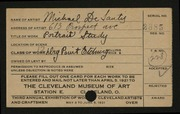 Entry card for De Santis, Michael for the 1921 May Show.