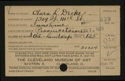 Entry card for Deike, Clara L. for the 1921 May Show.