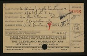 Entry card for Eastman, William Joseph for the 1921 May Show.