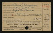 Entry card for Edmondson, William J. for the 1921 May Show.