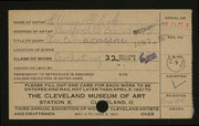Entry card for Flick, Lillian for the 1921 May Show.