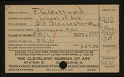 Entry card for Gottwald, Frederick Carl, and Cleveland School of Art for the 1921 May Show.