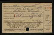 Entry card for Grossman, Morris for the 1921 May Show.