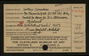 Entry card for Grumbine, LeRoy, and Garfield, Abram for the 1921 May Show.