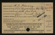 Entry card for Harvey, H. F. for the 1921 May Show.