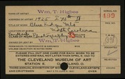 Entry card for Higbee, William T. for the 1921 May Show.