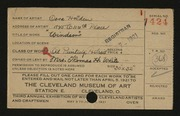 Entry card for Holden, Cora for the 1921 May Show.