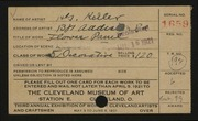 Entry card for Keller, Henry G. for the 1921 May Show.