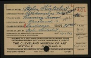 Entry card for Kratochvil, Stephen for the 1921 May Show.