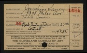 Entry card for Beduhn, Josephine Laney, and Beduhn, Arthur A. for the 1921 May Show.