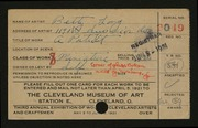 Entry card for Long, Elizabeth French for the 1921 May Show.