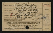 Entry card for Luce, Cal for the 1921 May Show.