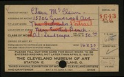 Entry card for McClean, Clara for the 1921 May Show.