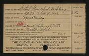 Entry card for Standiford-Mehling, Ethel, and Standiford Photographic Studio for the 1921 May Show.