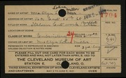 Entry card for Miller, Olga L. for the 1921 May Show.