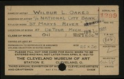 Entry card for Oakes, Wilbur L. for the 1921 May Show.