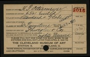 Entry card for Ostermeyer, H. F., and Schwegler & Company for the 1921 May Show.