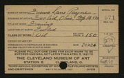 Entry card for Payne, Emma for the 1921 May Show.