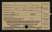 Entry card for Pryor, Warrant for the 1921 May Show.