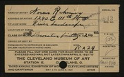 Entry card for Rahming, Norris for the 1921 May Show.