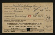Entry card for Rausch, Stella J. for the 1921 May Show.