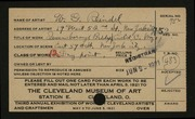 Entry card for Reindel, William George for the 1921 May Show.
