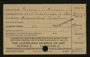Entry card for Risser, Minnie J. for the 1921 May Show.