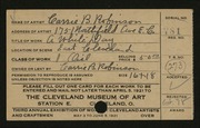 Entry card for Robinson, Carrie B. for the 1921 May Show.