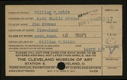 Entry card for Sabin, William Warren for the 1921 May Show.