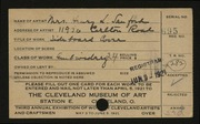Entry card for Sanford, Mrs. Henry L. for the 1921 May Show.