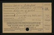 Entry card for Satterfield, Robert W. for the 1921 May Show.