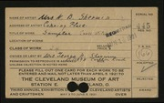 Entry card for Sherwin, Mrs. N. B. for the 1921 May Show.