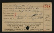Entry card for Sinz, Walter A., and Cleveland School of Art for the 1921 May Show.