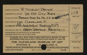 Entry card for Stanley-Brown, R. (Rudolph), and Garfield, Abram for the 1921 May Show.